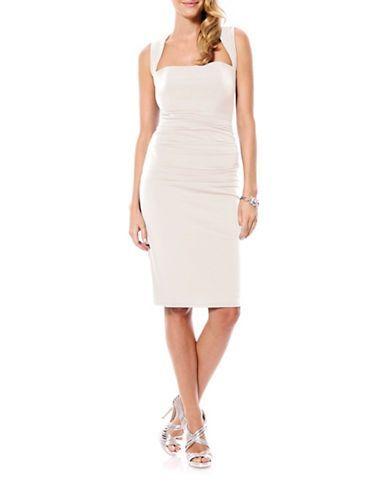 Laundry By Shelli Segal Shirred Sheath Dress Women's Warm White 12