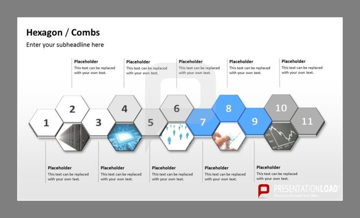 Zoom in on connecting elements using a Hexagon Timeline PowerPoint - powerpoint timeline