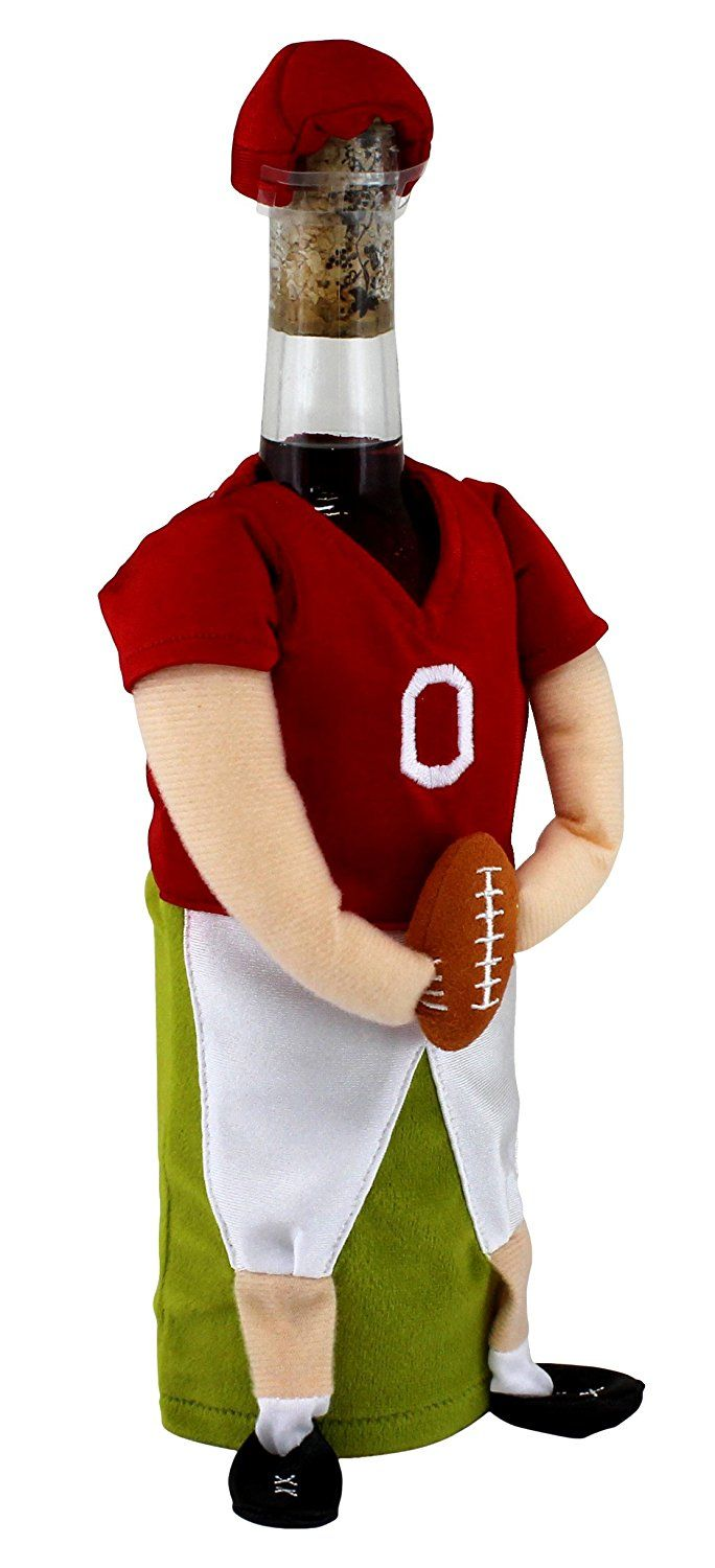 Wine Bottle Wear Dress Up For Wine Bottles Football Player Special Product Just For You See It Now Wine Accessories Wine Bottle Covers Wine Bottle Crafts Bottle Cover