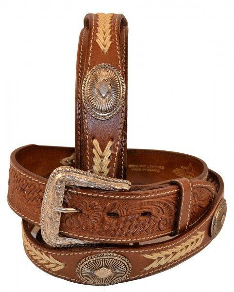 Cinturón vaquero de cuero marrón con conchos metálicos y trenzado beig  a56d8ee98e4d