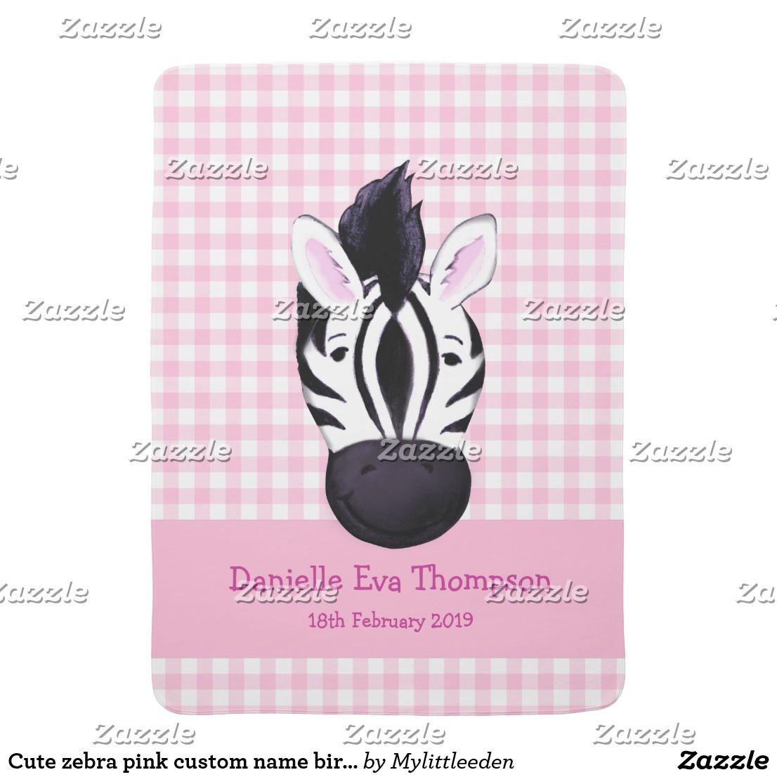Cute zebra pink custom name birth date blanket baby blankets