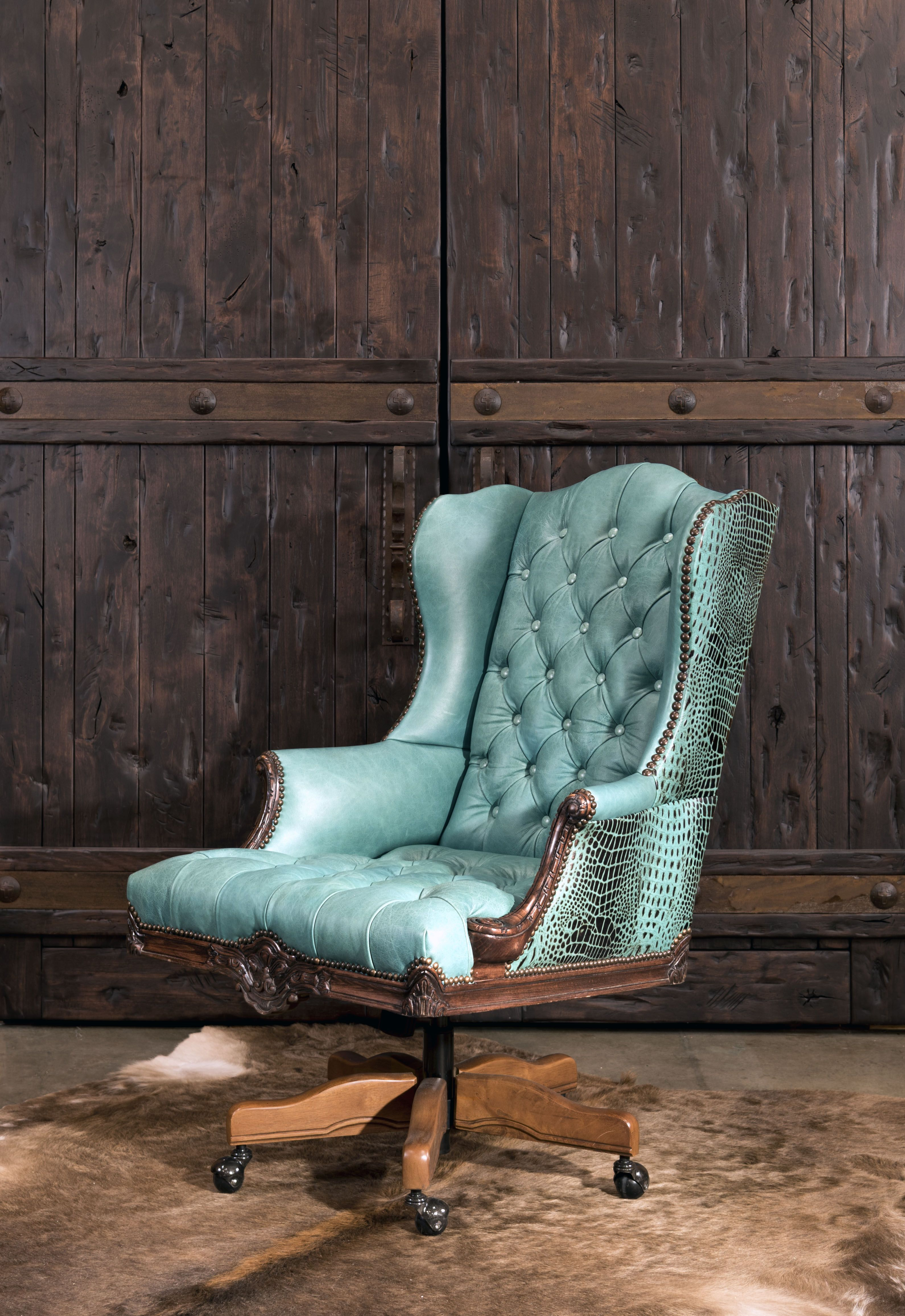 The Chisum Turquoise Executive Desk Chair is the King of