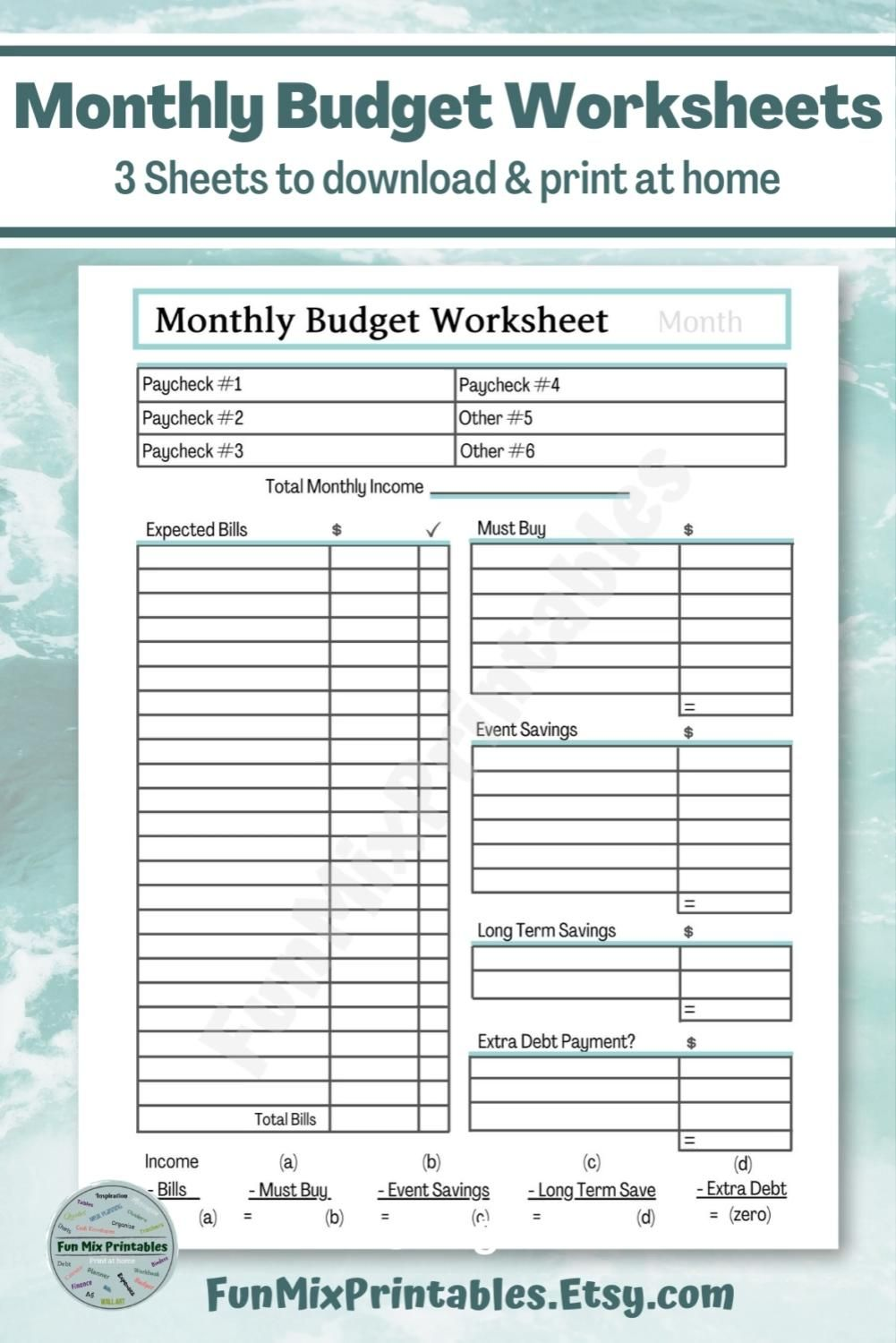 Monthly Budget Worksheets Printable Video Video In 2021 Budgeting Monthly Budget Template Budgeting Worksheets