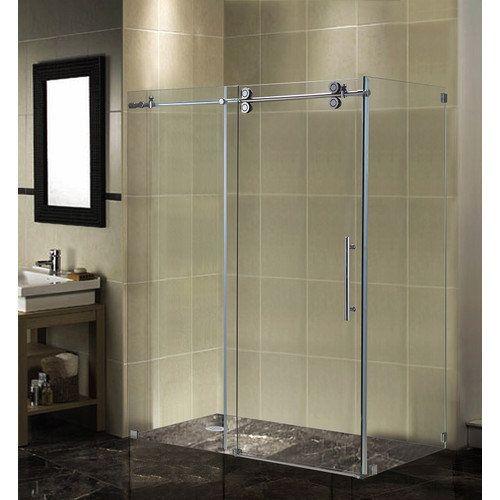 Aston Completely Frameless Sliding Shower Enclosure Chrome Aston Completely Frameless Slidin With Images Sliding Shower Door Shower Doors Frameless Sliding Shower Doors