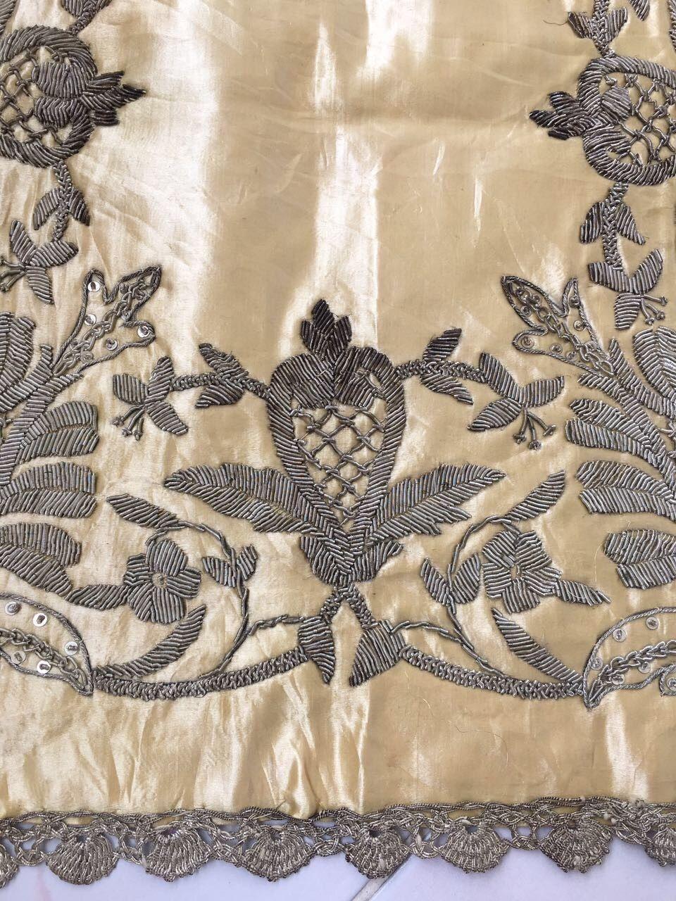 Antique Ottoman Turkish Silk Metallic Hand Embroidery On Linen