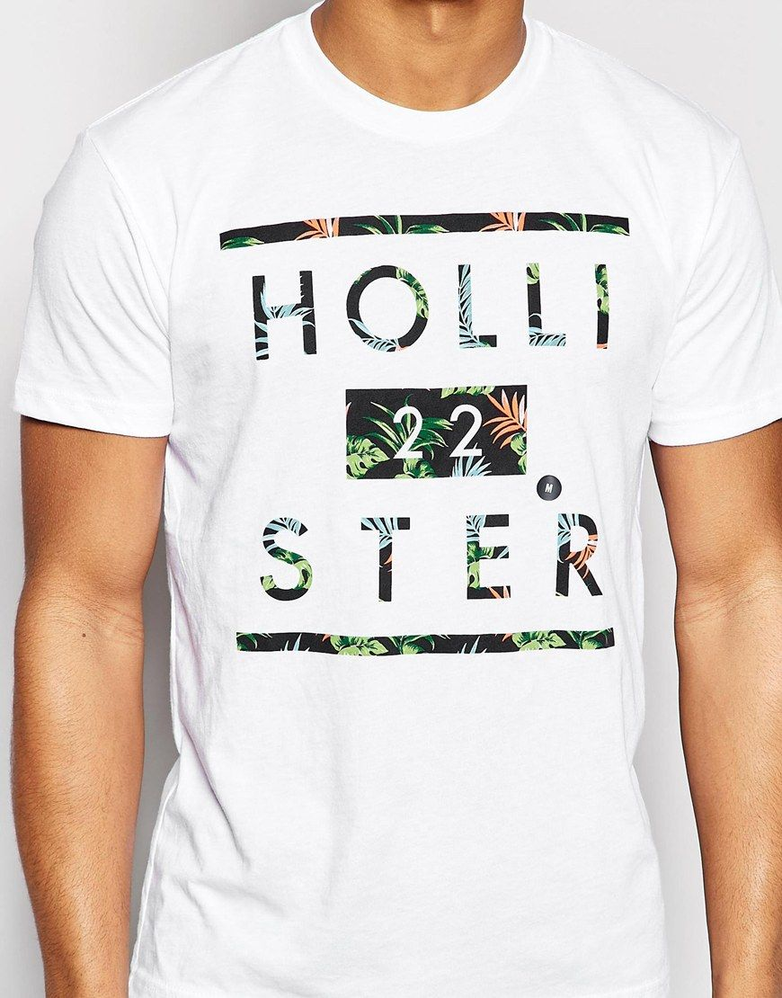 c80a85bb67fb Image 3 of Hollister T-Shirt with Floral Infill Logo In White ...