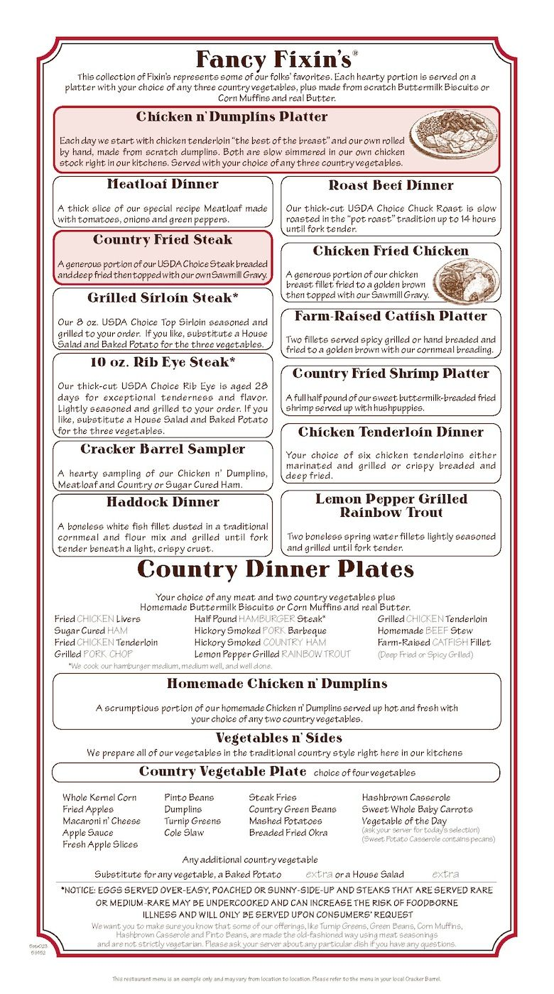 Cracker Barrel Fancy Fixins And Country Dinner Plates Cracker