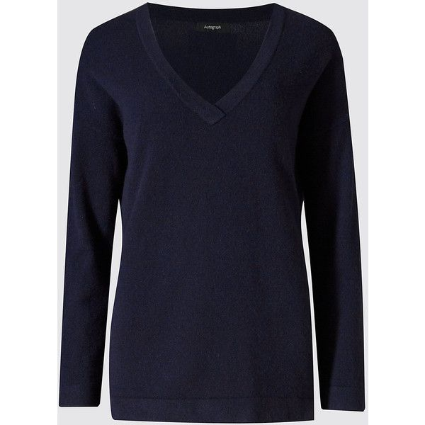 Autograph Pure Cashmere V-Neck Jumper (145 CAD) ❤ liked on ...