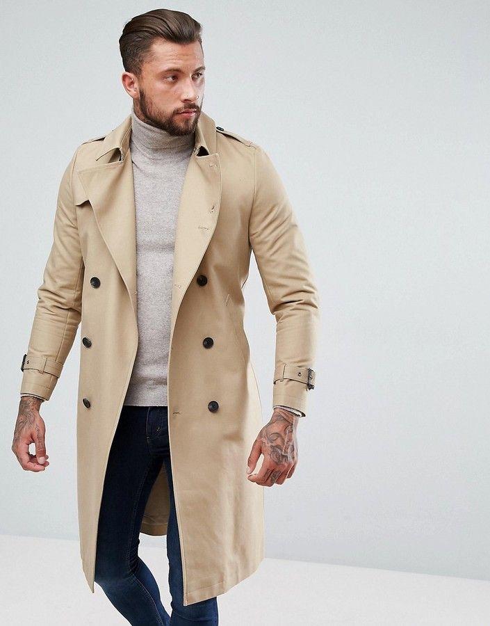 Asos Design Shower Resistant Longline, Asos Trench Coat Men