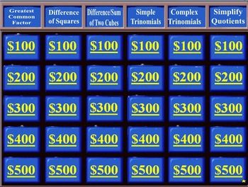 Factoring Jeopardy Systems Of Equations