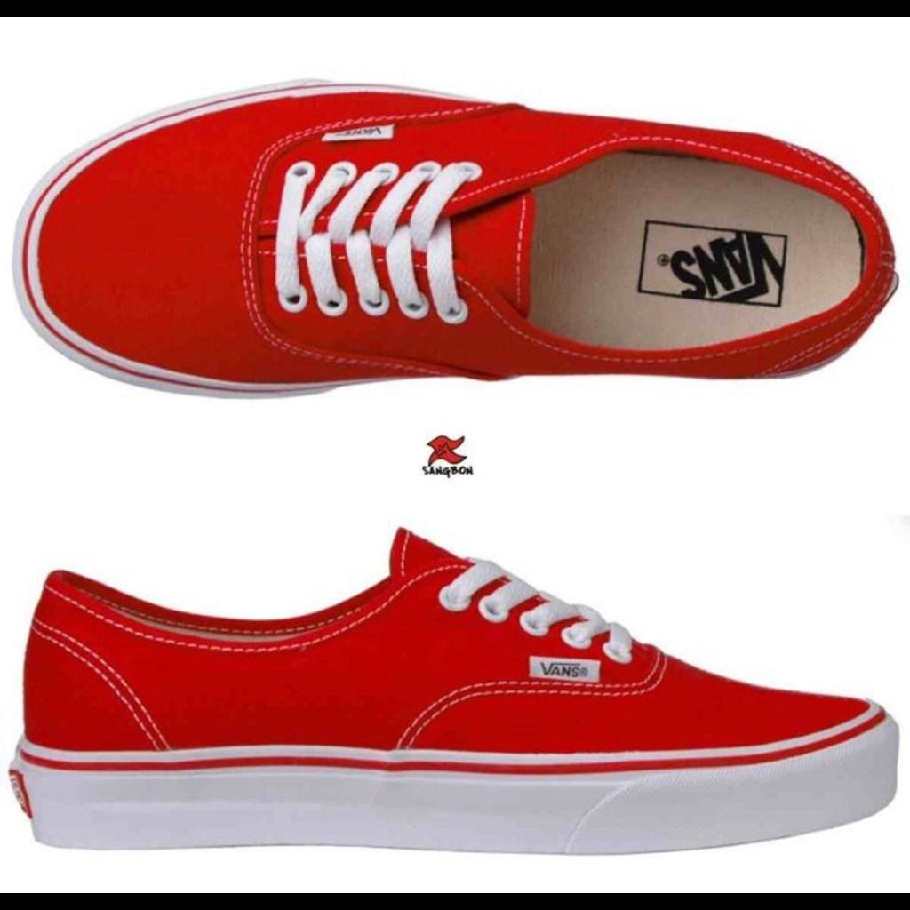 Red vans shoes, Vans authentic red