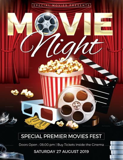 Movie Night Flyer Template Flyer Design Flyer Template