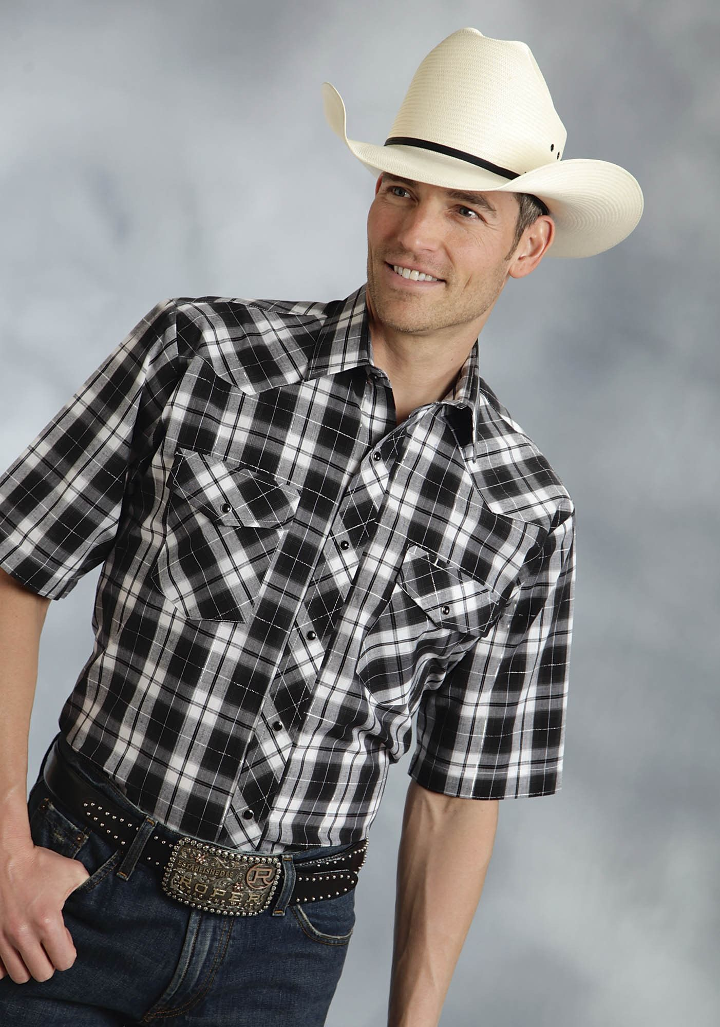 Roper Mens 55/45 Plaids Black Cotton Blend S/S Tall Big Silver Western Shirt