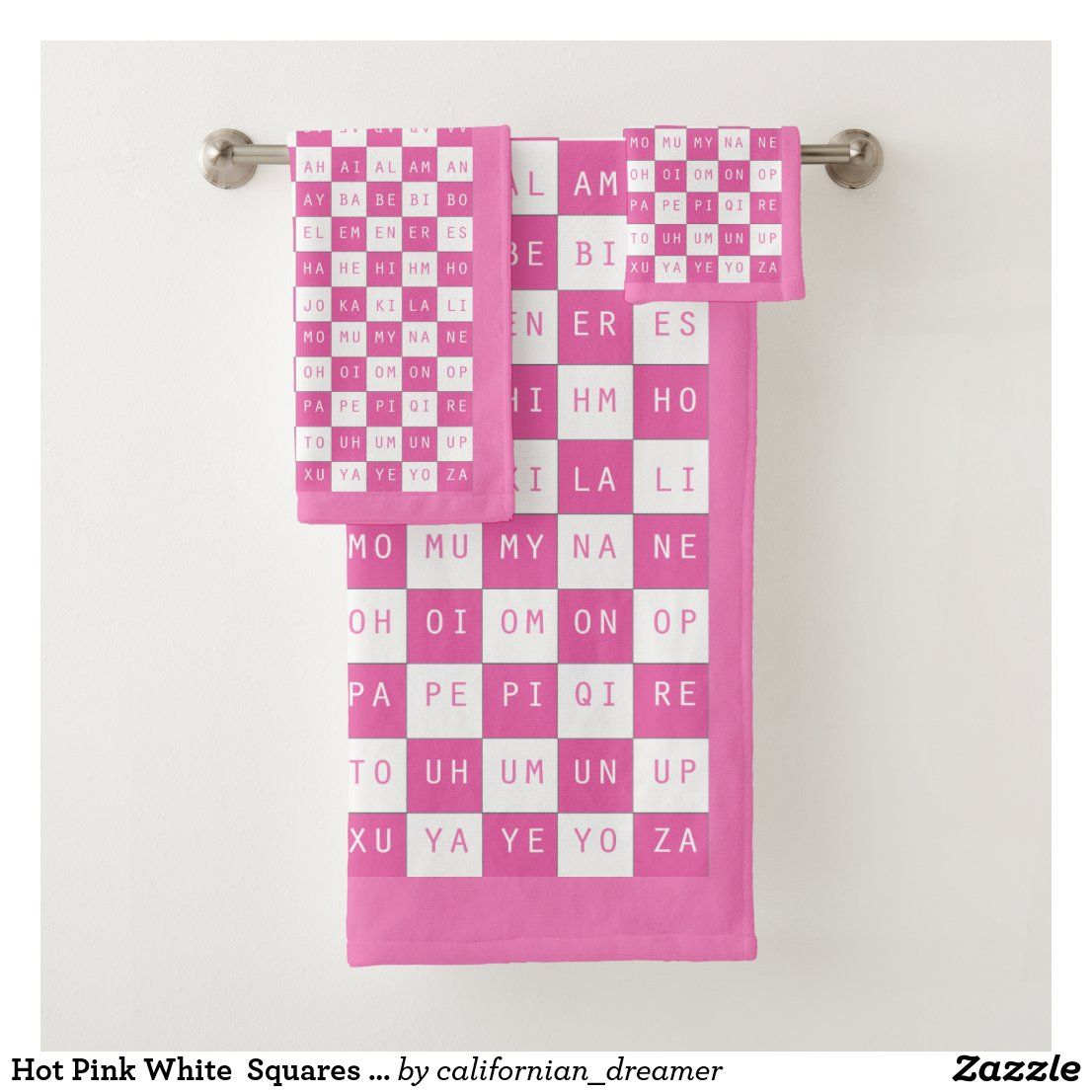 Hot Pink White Squares US English 2 Letter words Bath