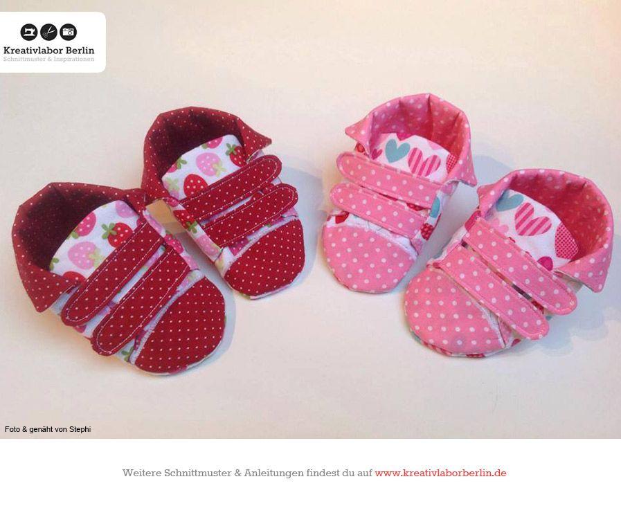 Baby-Klettschuhe, zum Schnittmuster: http://www.kreativlaborberlin ...