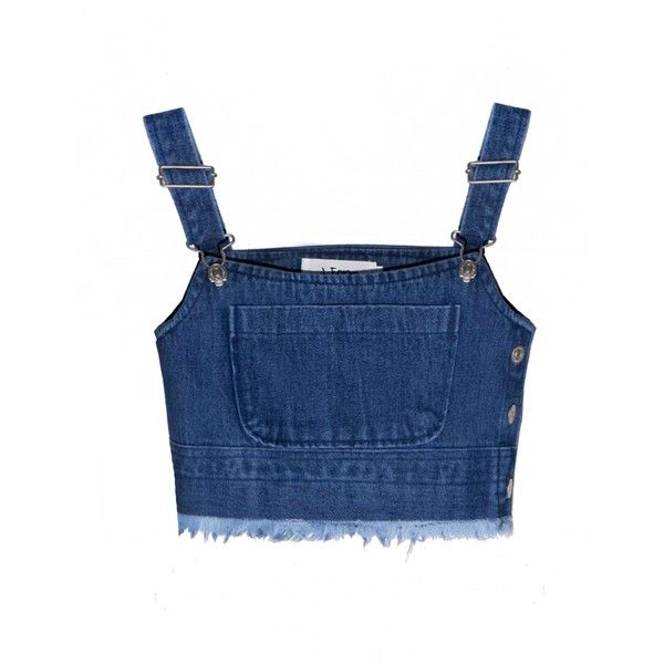 Denim Suspender Crop Top (£52) ❤ liked on Polyvore featuring tops, denim top, denim crop top, blue top, layered tops and crop top