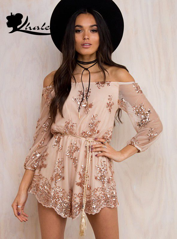 48f5815a Long Sleeve Off Shoulder Sequined Romper in 2019 | Fashion | Sequin ...