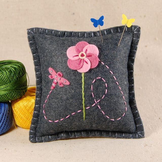 Dragonfly and Pink Flower Wool Felt Pincushion