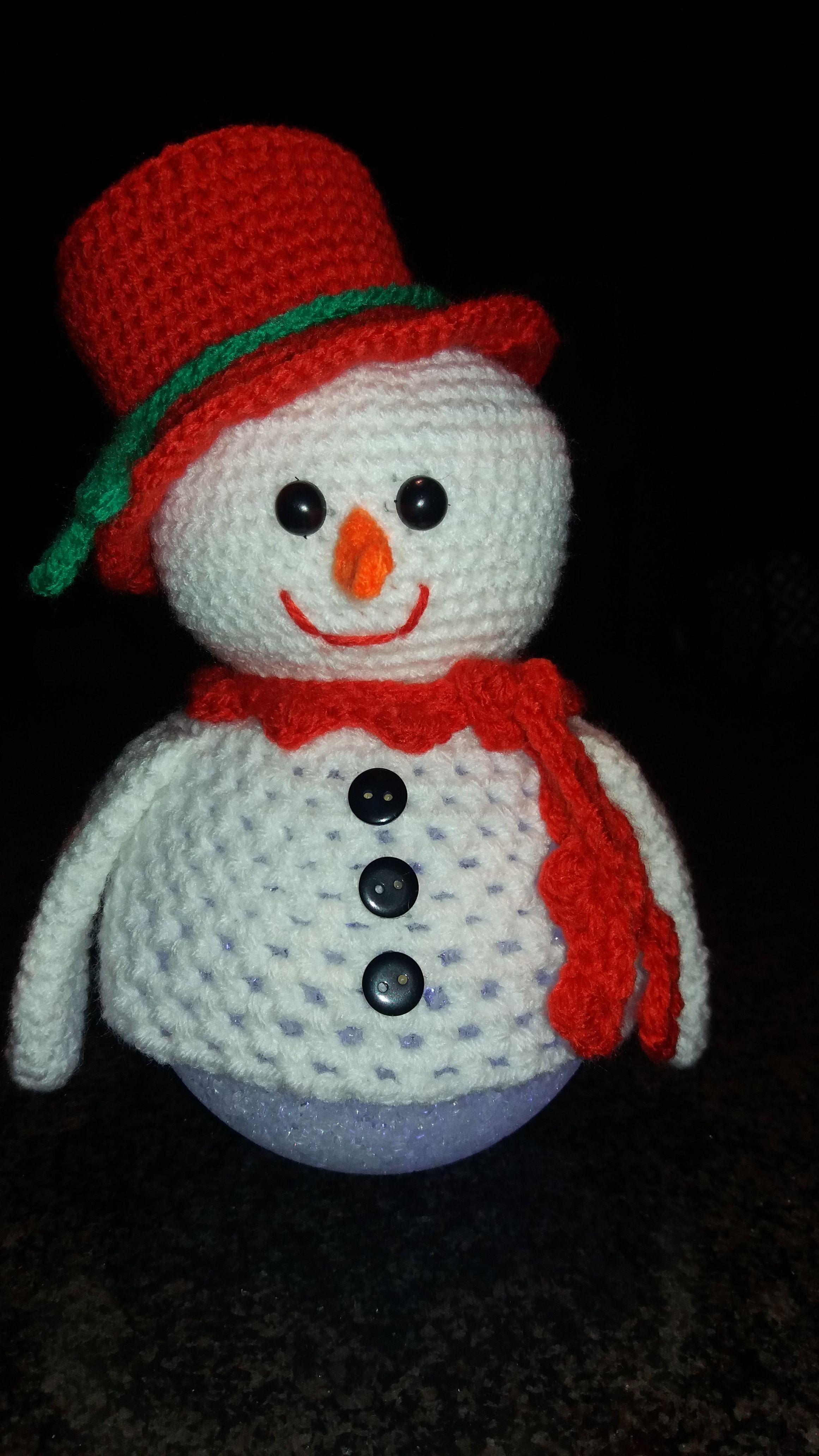 Sneeuwpop Op Lichtbol Haken Kerst