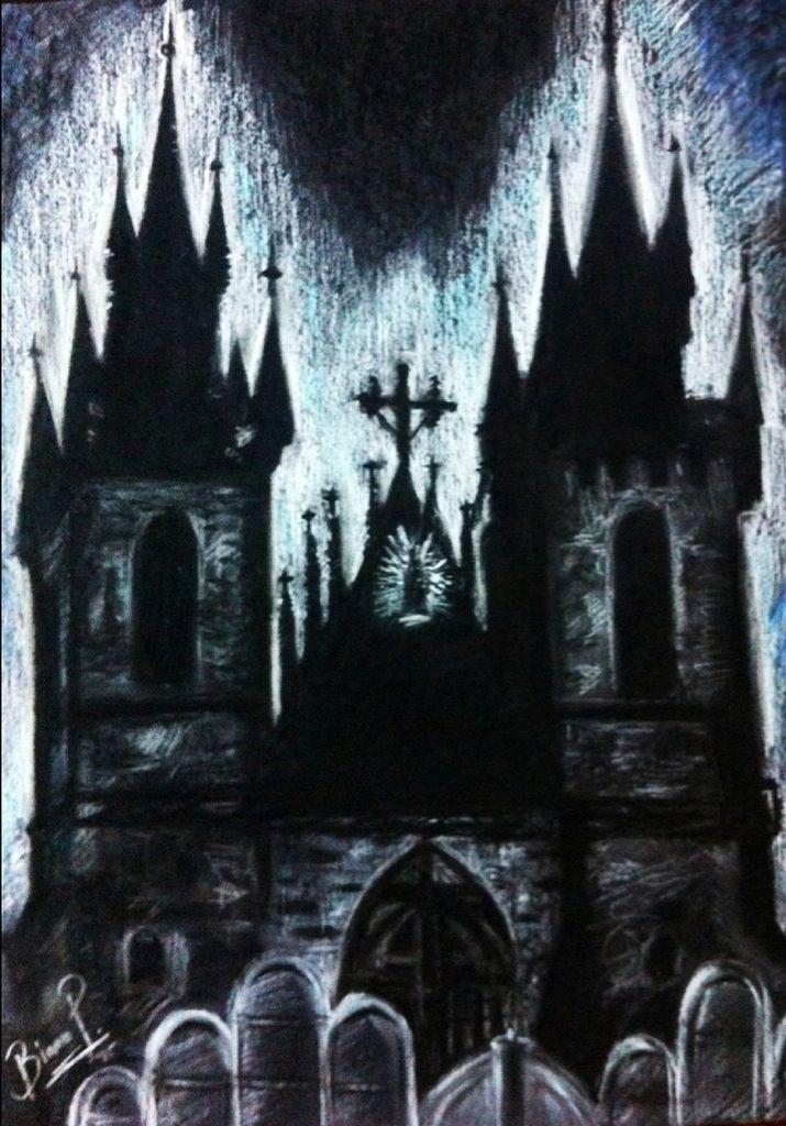 Bianca Paraschiv Drawings- Gothic church
