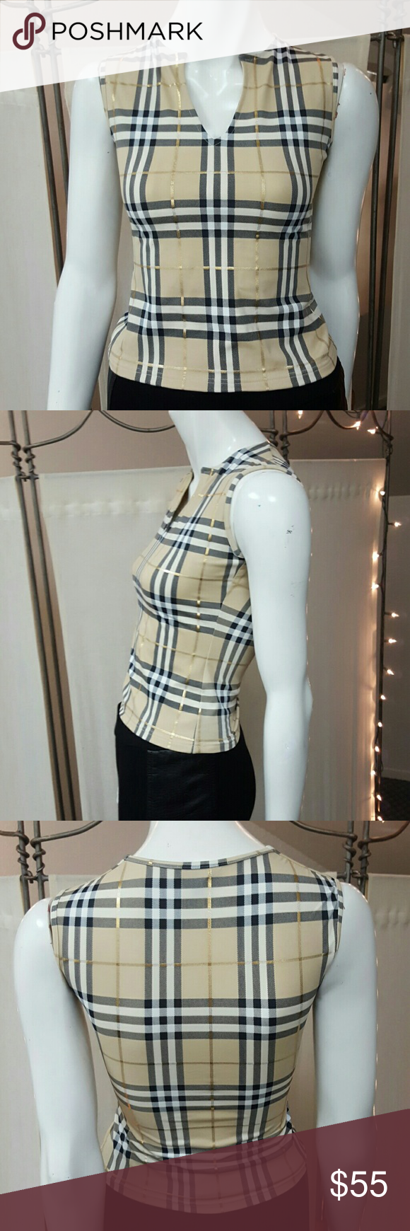 Burberry London Sleeveless Stretch Top...made in Italy Burberry Tops Tank Tops