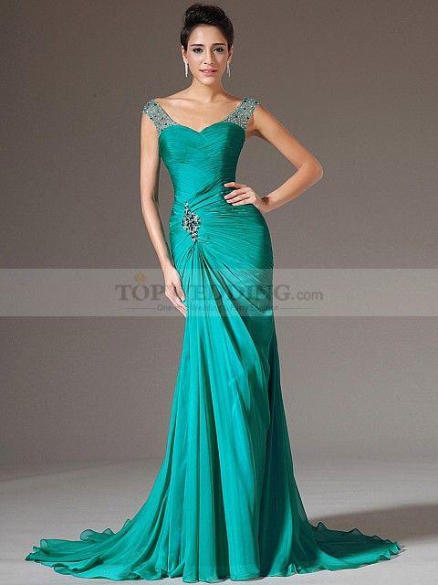 694f0df495c1 Yukiko - corte sirena escote en v vestido de noche de gasa con ...