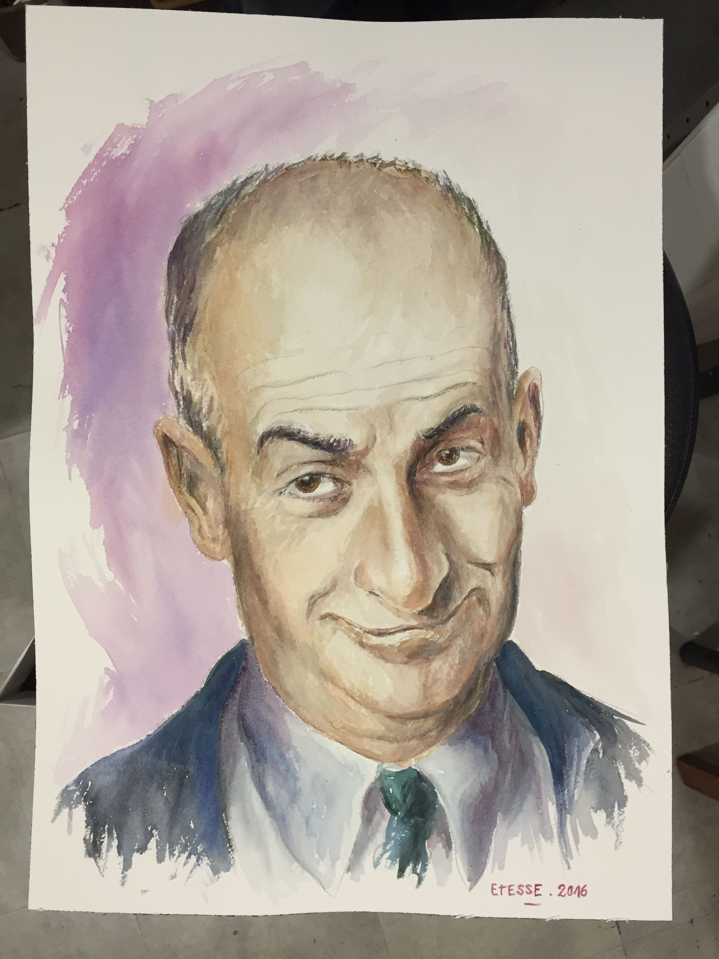 Louis de Funès - Portrait - Aquarelle / Water color. contact@cyriletesse.fr