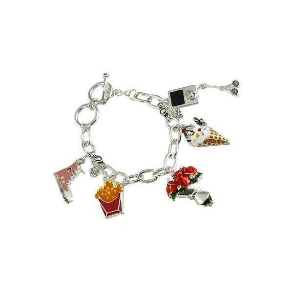Tween Charm Bracelet (25 AUD) ❤ liked on Polyvore featuring jewelry, bracelets, cream jewelry, silver plated charm bracelet, silver plated jewelry, pink bangles and pink jewelry