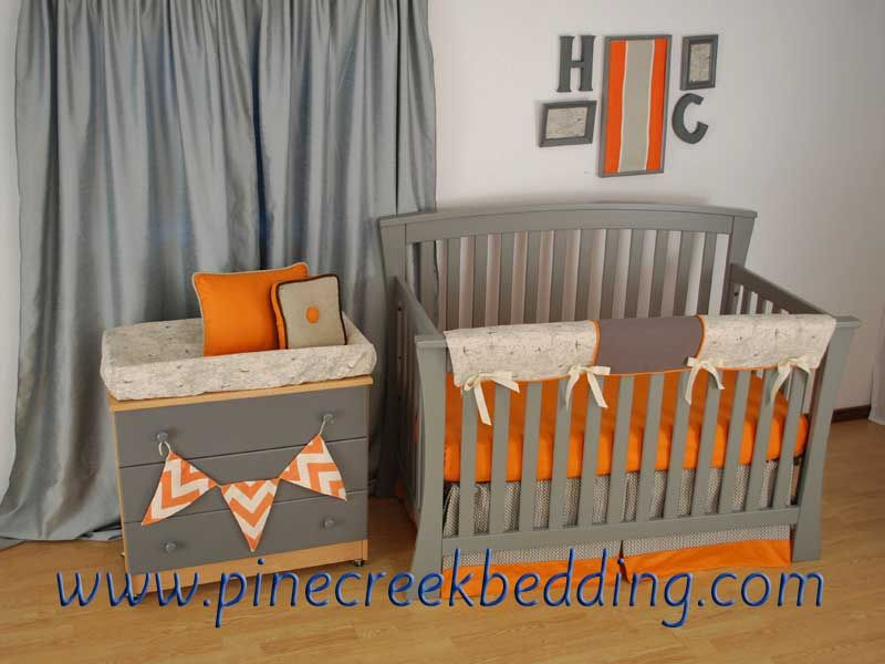 World map changing pad sheet and teething rail-guard with orange and grey crib bedding