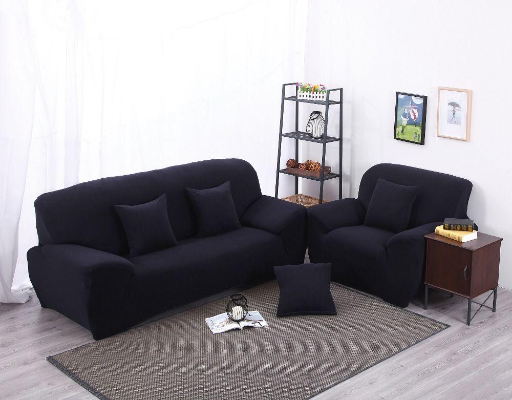 L Shaped Navy Blue Color Sectional Sofa Cover Home Decor Sofa