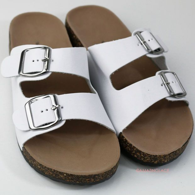 068c4201e6b1 Back To Cool White Two Strap Buckle Cork Sandals