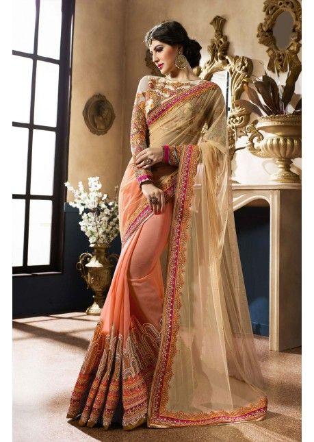 eca39e18efaa6 Marvelous Orange Colored Embroidered Net Georgette Saree ( 2 of 2 ...