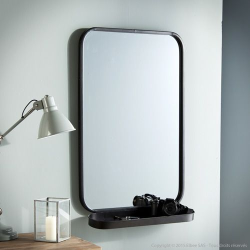 Miroir avec tag re en m tal noir bords arrondis decoclico for Grand miroir metal noir