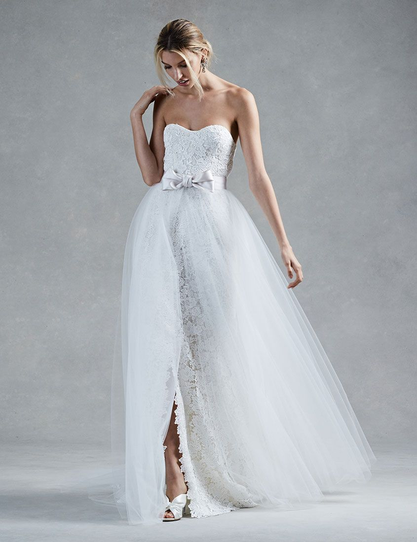 Lace Wedding dress with middle slit with a tulle removable skirt ...