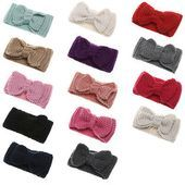 Photo of Candy Color Bowknot Hair Band Thick Warm Hair Accessories …