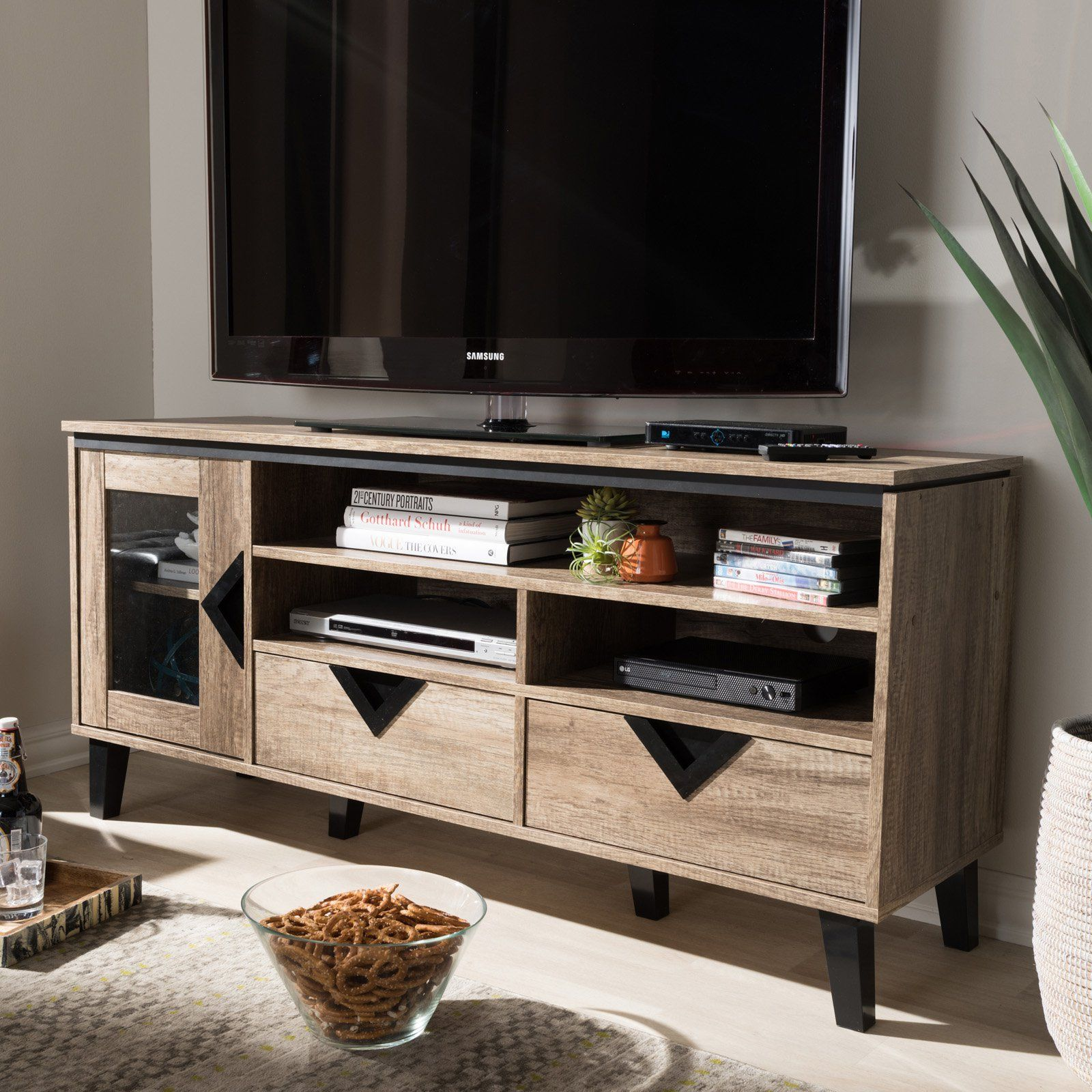 Baxton Studio Cardiff Wood 55 In Tv Stand 55 Inch Tv Stand Tv