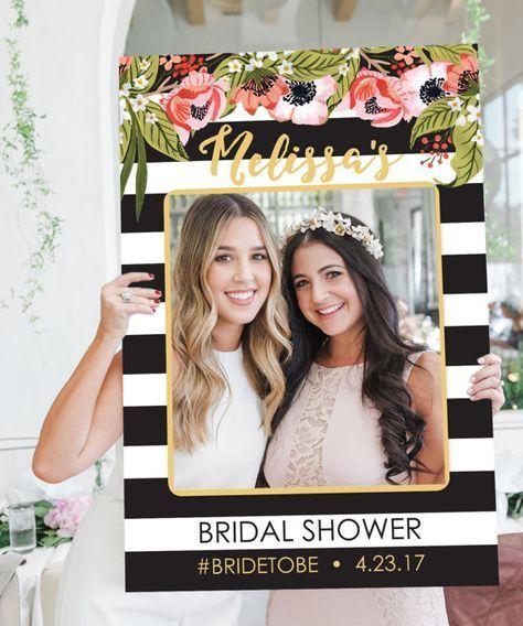 Bridal Shower Photo Prop Wedding Black And Gold Stripes Digital File Printed Option Available Preppy
