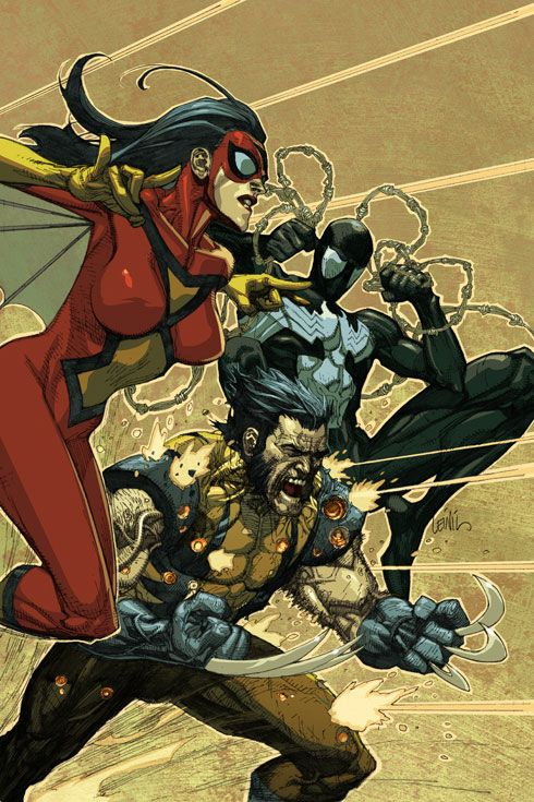 #Spider #Woman #Fan #Art. (Spider-Man, Spider-Woman & Wolverine) By: Leinil Francis Yu. (THE * 5 * STÅR * ÅWARD * OF: * AW YEAH, IT'S MAJOR ÅWESOMENESS!!!™) ÅÅÅ+