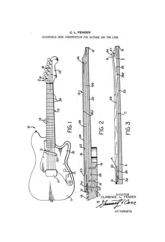 fender stratocaster guitar 1960 s patent art by guitarspatents rh pinterest com