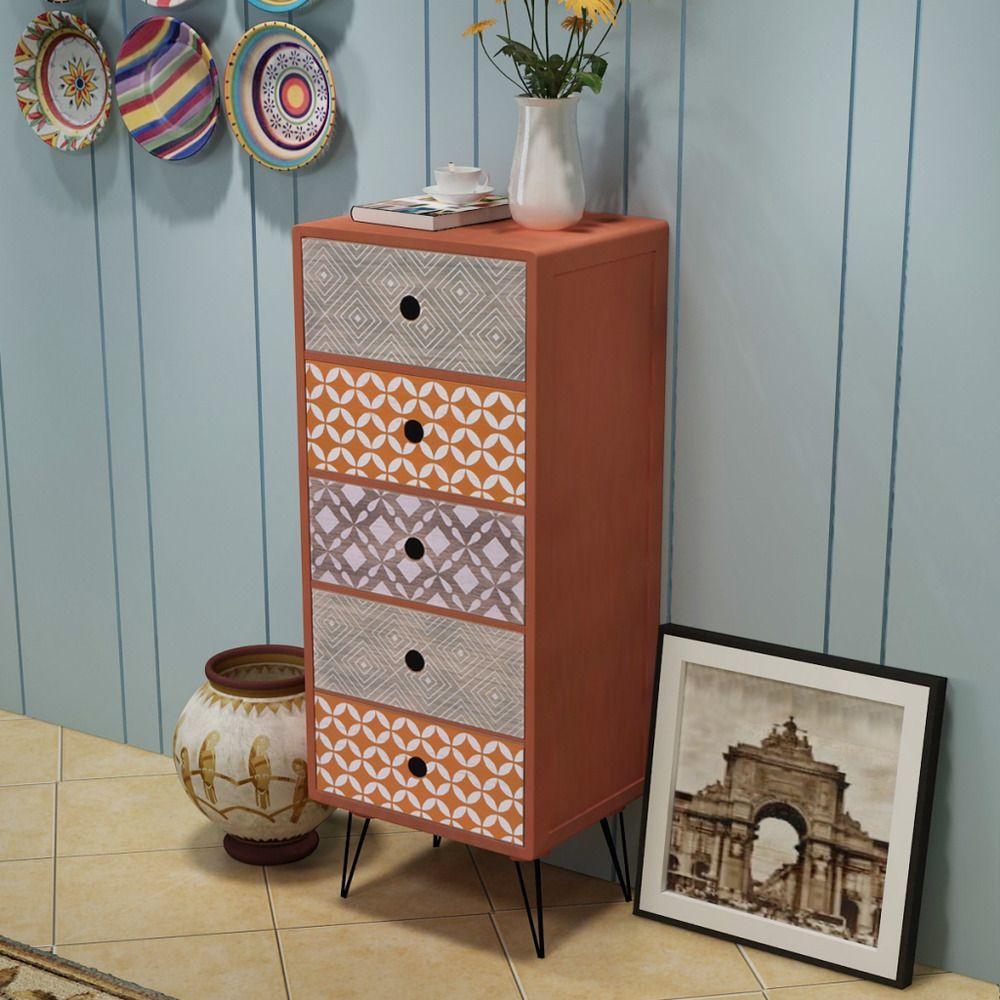 Brown Side Cabinet 5 Drawers Retro Sideboard Metal Bedroom Furniture