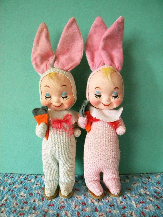 Vintage Pair of Gund Easter Bunny Children Gunderful Creation Pose ...
