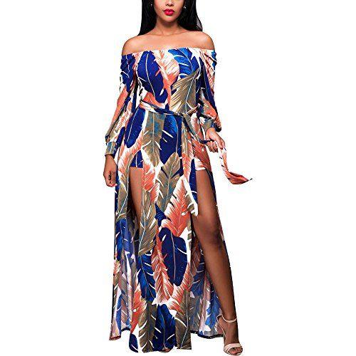 2d4ca1fd33 Ankola Long Dress Women Summer Boho Off Shoulder Long Maxi Casual Dresses  Slit Split (S, Multicolor)