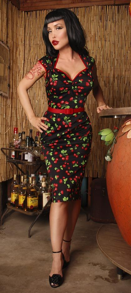 Black Cherries Pencil-skirted Frock. (PinupGirlClothing)
