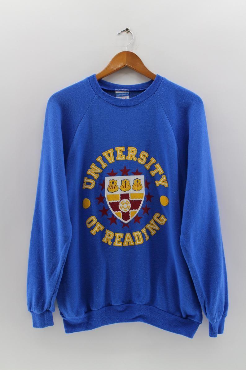 Vintage 90 S University Of Reading Pullover Sweatshirt Unisex Large Jsw England College Crewneck Blue Jumper Sweater Size L Sweatshirts Print Clothes Pullover [ 1191 x 794 Pixel ]