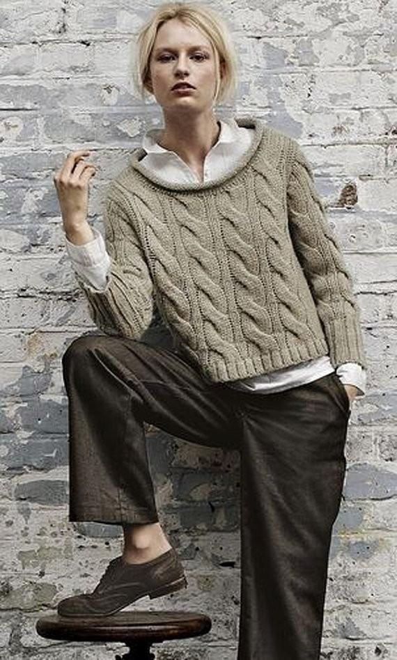 Women\'s Knit Boatneck Sweater 20C | Punto ocho, Hilo y Tejido