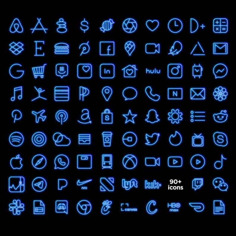 Blue NEON iOS Icon Pack, Aesthetic iPhone iOS 14,