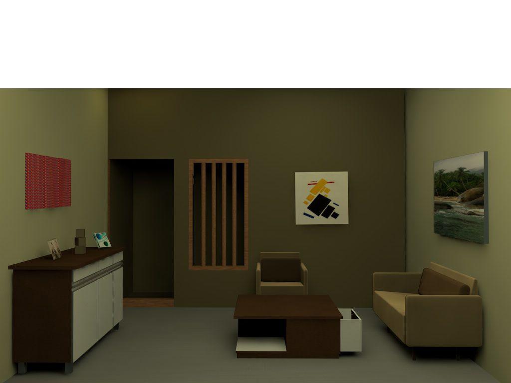 Ruang Tamu Dalam Model Minimalis Dengan Perpaduan Warna Coklat Dan