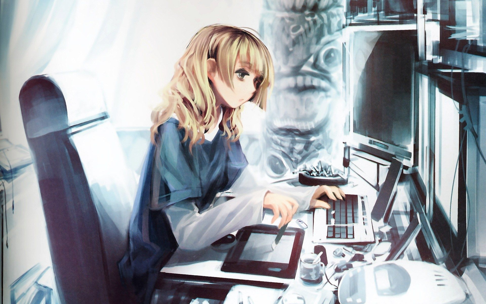 рисунки девушек работа