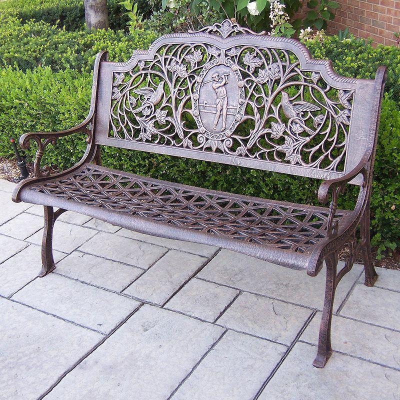 Golfer Cast Aluminum Outdoor Bench Brown Oth Outdoor Bench Patio Furniture Deals Wooden Garden Benches