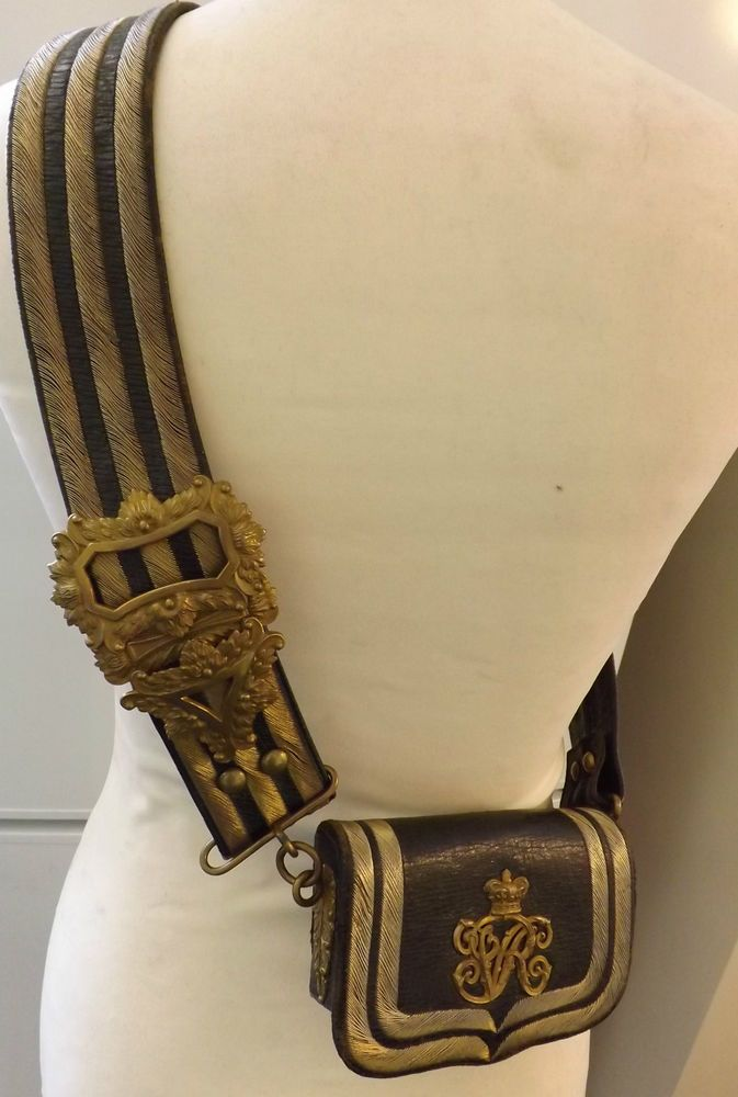 Military Victorian Officers Leather Cross Belt & Pouch Gold